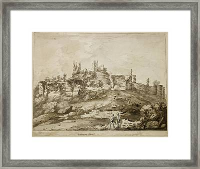 Ruins Of Wigmore Castle Framed Print by British Library