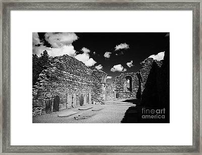 Ruins Ruined Remains And Gravestones Inside The Cathedral At Glendalough Monastic Site Framed Print