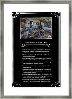 Rules For Teachers - 1872 - Montana Territory Framed Print by Daniel Hagerman