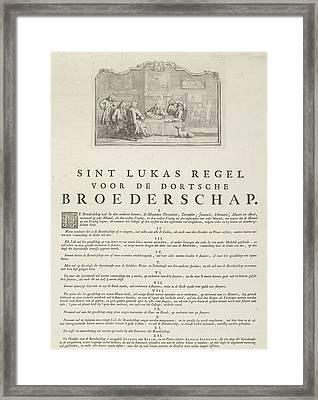 Rules Of The Brotherhood Of St Luke From Dordrecht, 1736 Framed Print