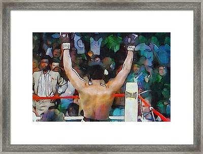 Rumble In The Jungle Ali Wins Framed Print by Dan Sproul
