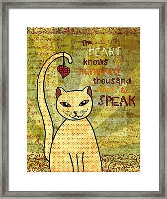 Rumi Cat Heart Framed Print by Cat Whipple