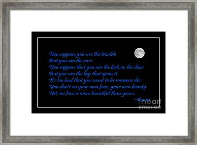 Rumi Quote - Beauty - Loving You Framed Print