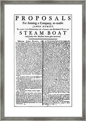 Rumsey Proposal, 1788 Framed Print by Granger