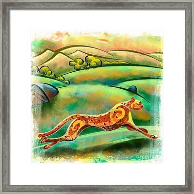 Run Cheetah Run Framed Print by Bedros Awak