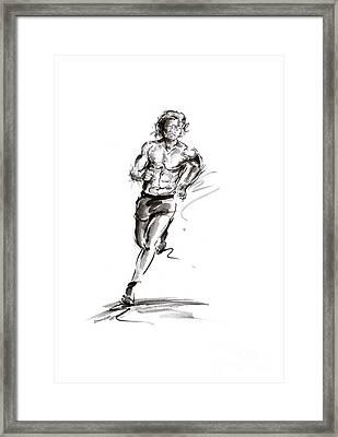 Run Lovers Running Man Painting Sport Athletic Olimpic Iron Man Thriatlon Framed Print