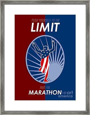 Run Marathon Push Limits Retro Poster Framed Print by Aloysius Patrimonio