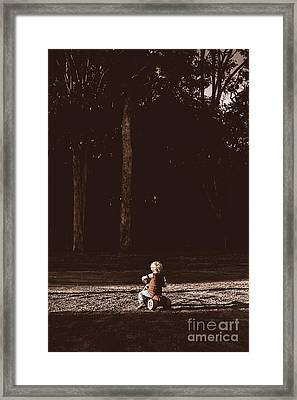 Runaway Child Riding Tricycle At Old Dark Forest Framed Print
