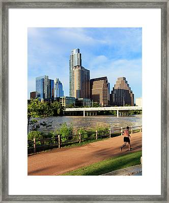 Runner On Path Along South Shore Framed Print by Panoramic Images