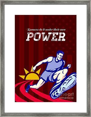 Runner Running Power Poster Framed Print by Aloysius Patrimonio