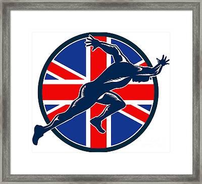Runner Sprinter Start British Flag Circle Framed Print by Aloysius Patrimonio