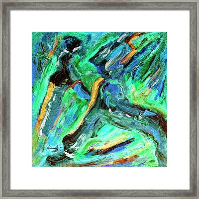 Framed Print featuring the painting Runners by Dominic Piperata