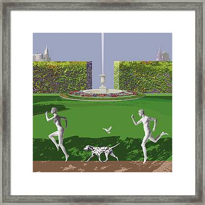 Runners From Eden Framed Print by Victoria Fomina