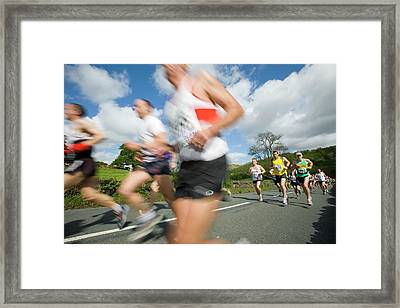Runners In The Windermere Marathon Framed Print