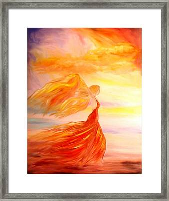 Framed Print featuring the painting Running Along The Beach by Lilia D