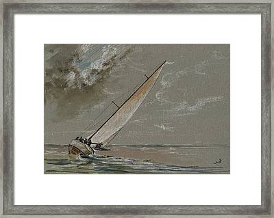 Running Away From The Storm Framed Print