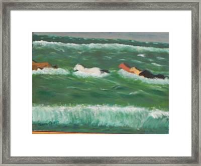 Running Before The Tide Framed Print by Ernie Goldberg