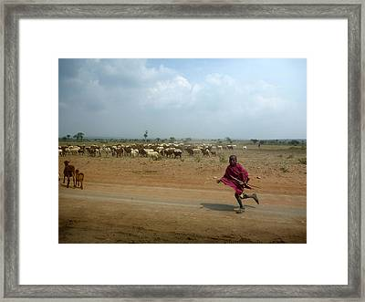 Running Boy Framed Print