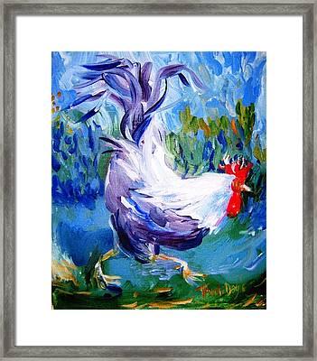 Running Cockerel Framed Print by Trudi Doyle