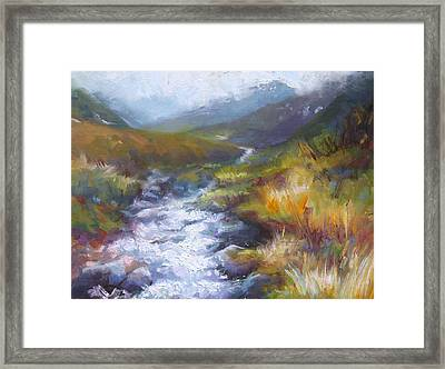 Framed Print featuring the painting Running Down - Landscape View From Hatcher Pass by Talya Johnson