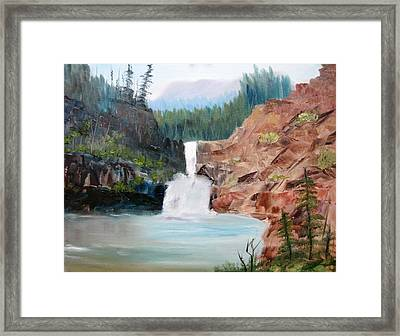Running Eagle Falls Framed Print by Larry Hamilton