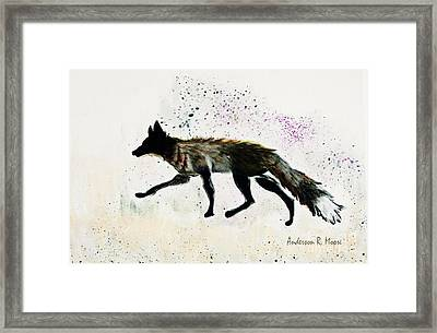 Running Fox Framed Print by Anderson R Moore