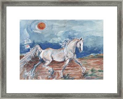 Running Horse Framed Print by Mary Armstrong