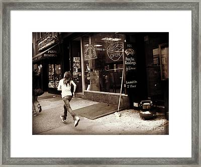 Running Framed Print by Miriam Danar