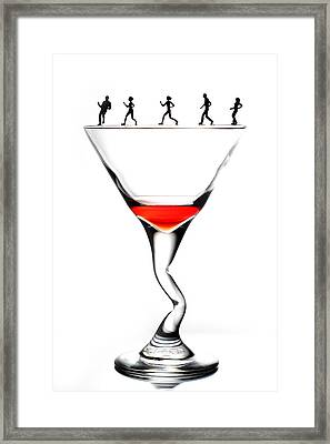 Running On Cup Little People On Food Framed Print