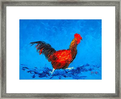 Running Rooster On Blue Background Framed Print by Jan Matson