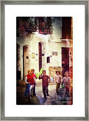 Running With Joy Framed Print by Mary Machare