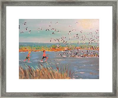 Running With The Gulls Framed Print