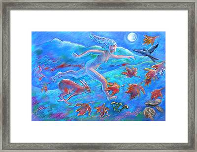 Running With The Hare Framed Print by Trudi Doyle