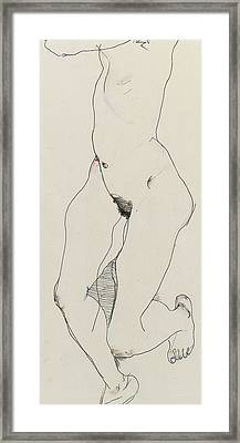 Running Woman Framed Print by Egon Schiele
