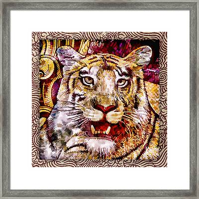 Rupee Tiger Framed Print by Carol Leigh