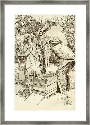 Rural Beekeeping In The Early Twentieth Century.  From Windfalls By Alpha Of The Plough, Published Framed Print