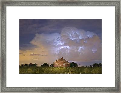 Rural Country Cabin Lightning Storm Framed Print by James BO  Insogna