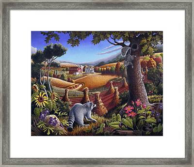 Rural Country Farm Life Landscape Folk Art Raccoon Squirrel Rustic Americana Scene  Framed Print by Walt Curlee