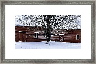 Rural Farmhouse Simplicity - A Winter Scenic Framed Print by Thomas Schoeller