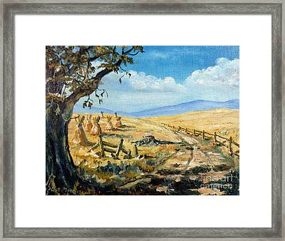 Rural Farmland Americana Folk Art Autumn Harvest Ranch Framed Print