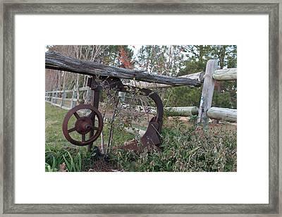 Rural Fence Post Framed Print by Lorri Crossno