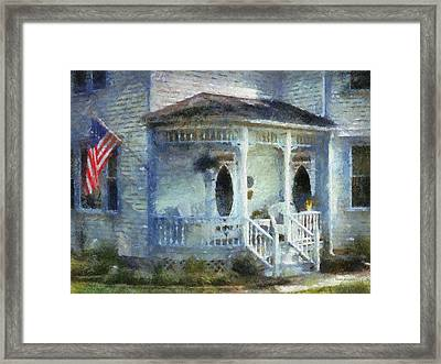 Rural Front Porch With Us Flag Framed Print by Thomas Woolworth