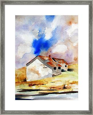 Rural Houses And Dramatic Sky Framed Print by Carlin Blahnik
