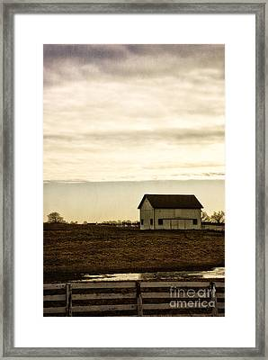 Rural Old Barn Behind Fence Framed Print by Birgit Tyrrell