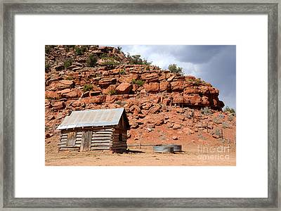 Rural Ranch Cabin During Desert Storm Framed Print