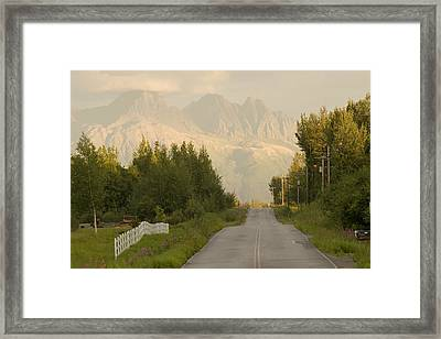 Rural Road Leading To View Of Chugach Framed Print by Doug Demarest