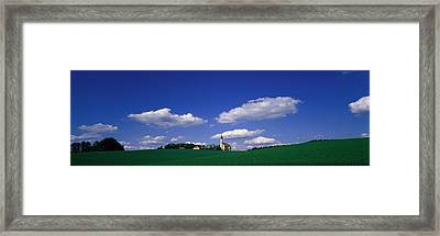 Rural Scene With Church, Near Framed Print by Panoramic Images