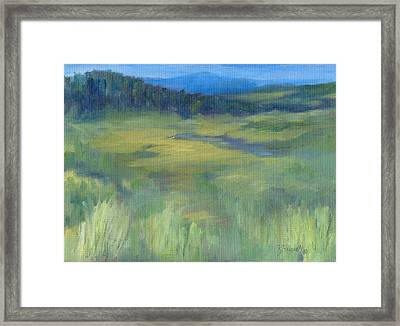Rural Valley Landscape Colorful Original Painting Washington State Water Mountains K. Joann Russell Framed Print