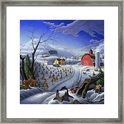 Rural Winter Country Farm Life Landscape - Square Format Framed Print
