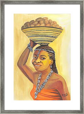 Framed Print featuring the painting Rural Woman From Cameroon by Emmanuel Baliyanga